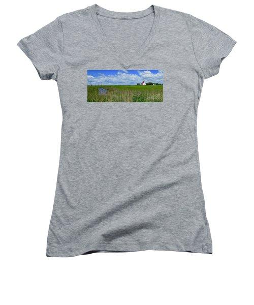 East Point Lighthouse Across The Marsh  Women's V-Neck T-Shirt