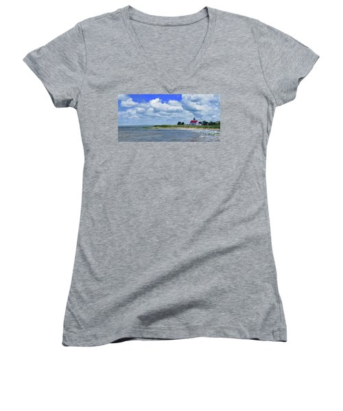 East Point Lighthouse At High Tide Women's V-Neck T-Shirt (Junior Cut) by Nancy Patterson