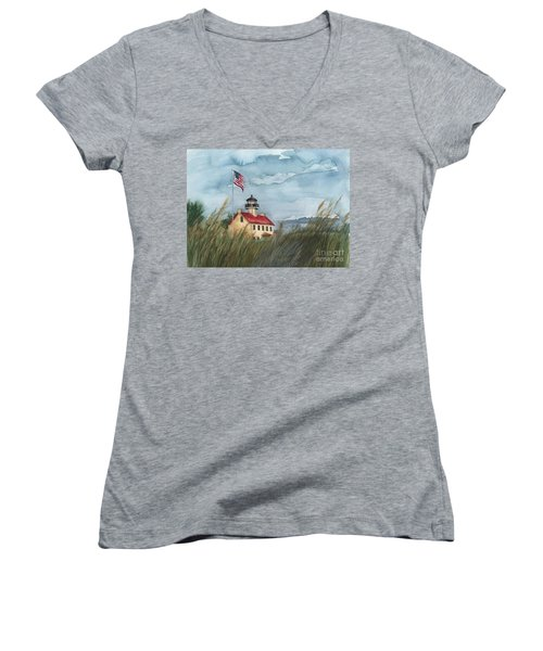 East Point Lighthouse Women's V-Neck (Athletic Fit)