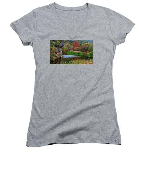 East Trail Pond At Lost Maples Women's V-Neck (Athletic Fit)