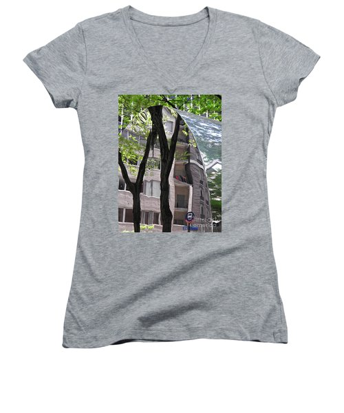 Women's V-Neck T-Shirt (Junior Cut) featuring the photograph East West Gate 4  by Sarah Loft