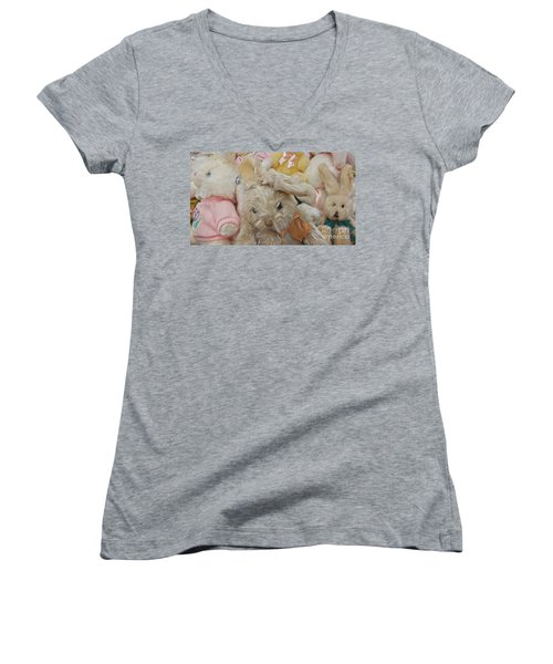 Women's V-Neck T-Shirt (Junior Cut) featuring the photograph Easter Bunnies by Benanne Stiens