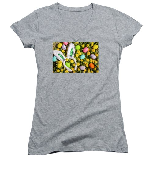 Women's V-Neck T-Shirt (Junior Cut) featuring the photograph Easter Morning by Teri Virbickis