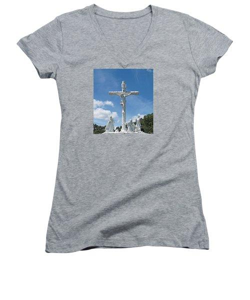 Easter One Women's V-Neck T-Shirt (Junior Cut) by Barbara McDevitt