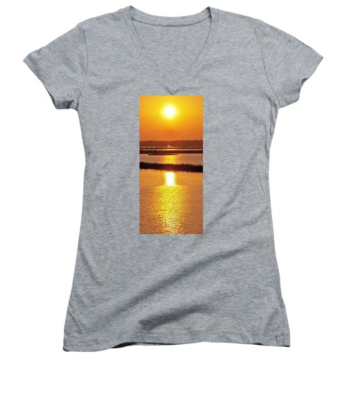 Easter Sunset Southwest Louisiana Women's V-Neck T-Shirt (Junior Cut) by John Glass