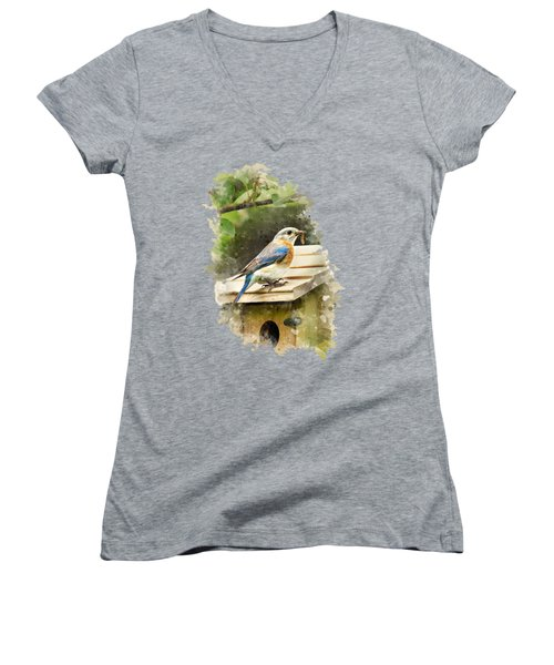 Women's V-Neck featuring the mixed media Eastern Bluebird Watercolor Art by Christina Rollo