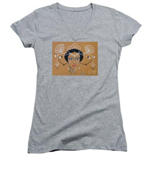 Eastern Elegance -- Whimsical Asian Woman Women's V-Neck T-Shirt