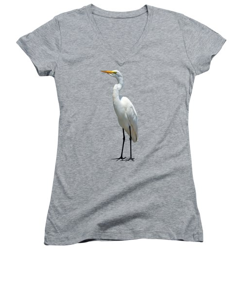Eastern Great Egret Ardea Alba Modesta Women's V-Neck T-Shirt