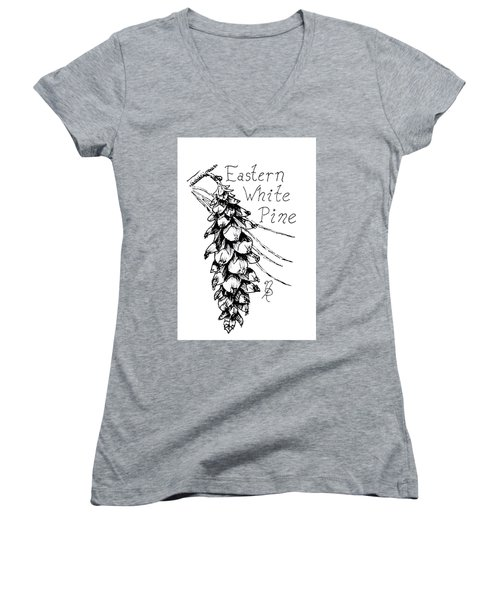 Eastern White Pine Cone On A Branch Women's V-Neck