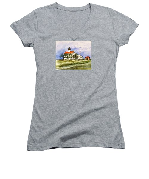 East Point Lighthouse Glory Days  Women's V-Neck T-Shirt (Junior Cut) by Nancy Patterson