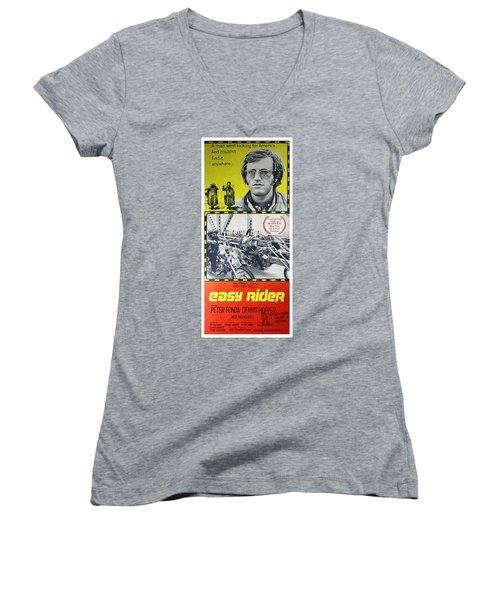 Easy Rider Movie Lobby Poster  1969 Women's V-Neck T-Shirt (Junior Cut) by Daniel Hagerman