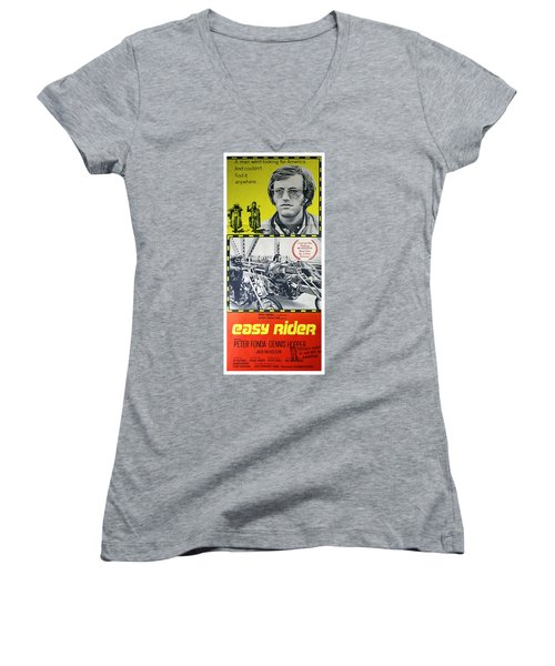 Easy Rider Movie Lobby Poster  1969 Women's V-Neck (Athletic Fit)
