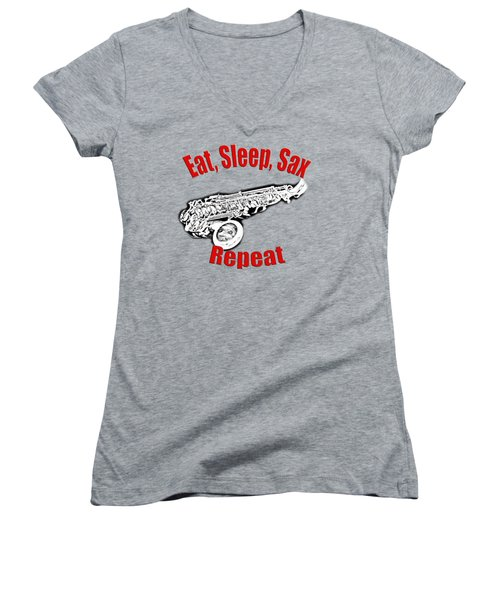 Eat Sleep Sax Repeat Women's V-Neck T-Shirt (Junior Cut) by M K  Miller