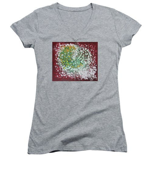 Women's V-Neck T-Shirt (Junior Cut) featuring the painting Ebola Contained by Antonio Romero