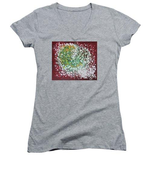 Ebola Contained Women's V-Neck T-Shirt (Junior Cut) by Antonio Romero