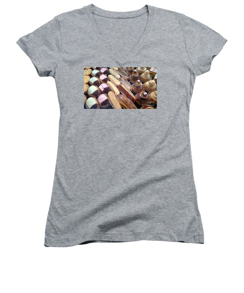 Women's V-Neck T-Shirt (Junior Cut) featuring the photograph Eclaires by Therese Alcorn