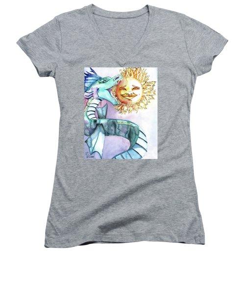 Eclipse Dragon Sun Eater Women's V-Neck (Athletic Fit)