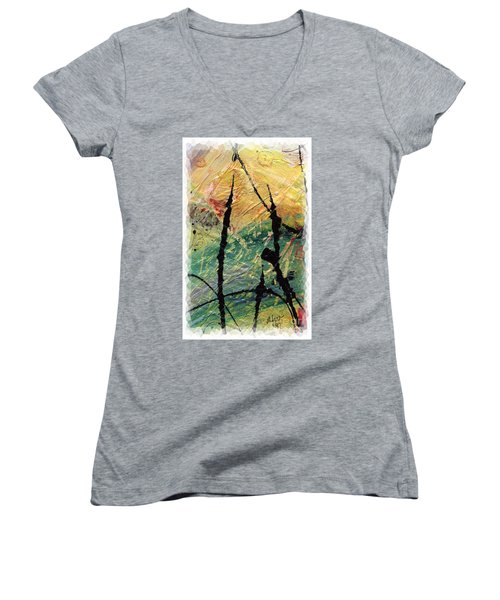 Women's V-Neck T-Shirt (Junior Cut) featuring the painting Ecstasy II by Angela L Walker