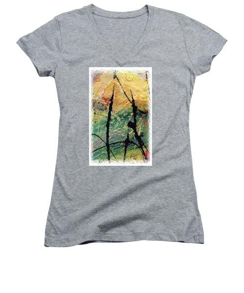 Ecstasy II Women's V-Neck T-Shirt (Junior Cut) by Angela L Walker
