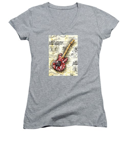 Eddie's Guitar II Women's V-Neck T-Shirt (Junior Cut) by Gary Bodnar