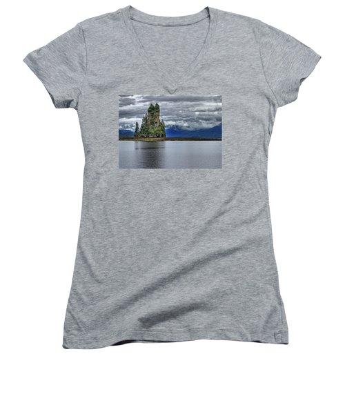 Eddystone Rock In Misty Fjords National Monument Women's V-Neck