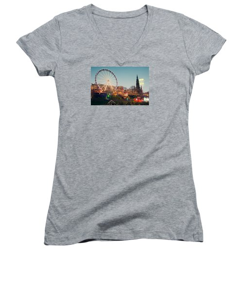 Edinburgh And The Big Wheel Women's V-Neck T-Shirt (Junior Cut) by Ray Devlin