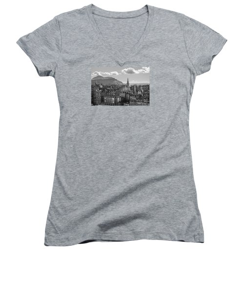 Edinburgh - Arthur's Seat Women's V-Neck T-Shirt (Junior Cut) by Amy Fearn