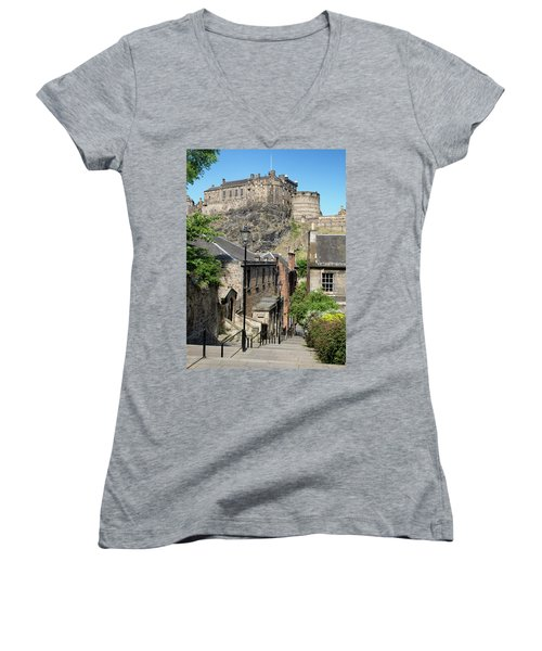 Women's V-Neck T-Shirt featuring the photograph Edinburgh Castle From The Vennel by Jeremy Lavender Photography
