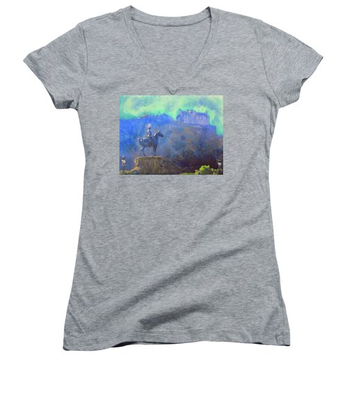 Women's V-Neck T-Shirt (Junior Cut) featuring the painting Edinburgh Castle Horse Statue by Richard James Digance