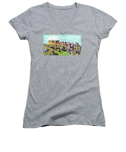 Women's V-Neck T-Shirt (Junior Cut) featuring the painting Edinburgh Castle Skyline No 2 by Richard James Digance