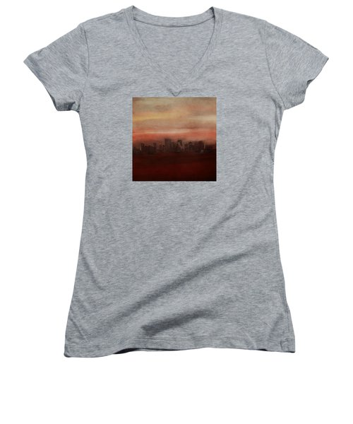 Edmonton At Sunset Women's V-Neck (Athletic Fit)