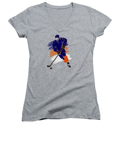 Edmonton Oilers Player Shirt Women's V-Neck T-Shirt (Junior Cut) by Joe Hamilton