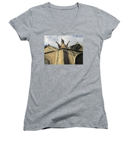 Women's V-Neck T-Shirt (Junior Cut) featuring the photograph Eglise Saint-severin, Paris by Christopher Kirby