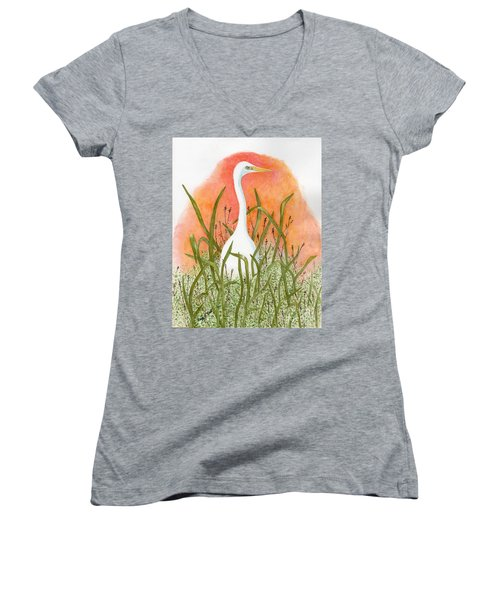 Women's V-Neck T-Shirt (Junior Cut) featuring the painting Egret Color In Sunset by Peggy A Borel
