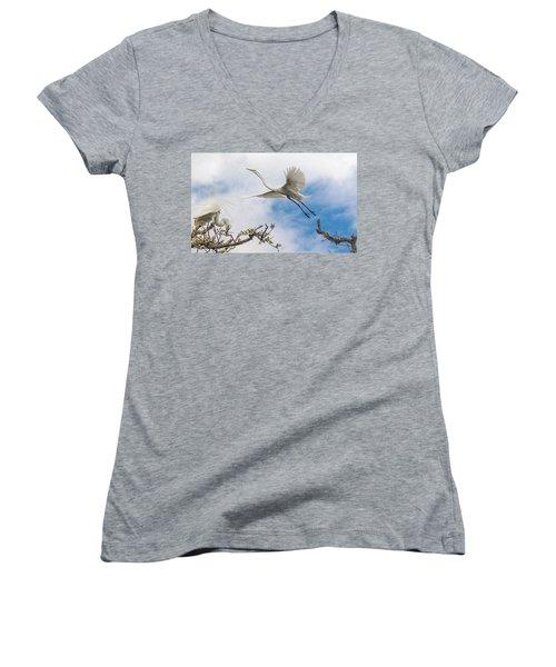 Egret Grace Women's V-Neck T-Shirt (Junior Cut) by Kelly Marquardt