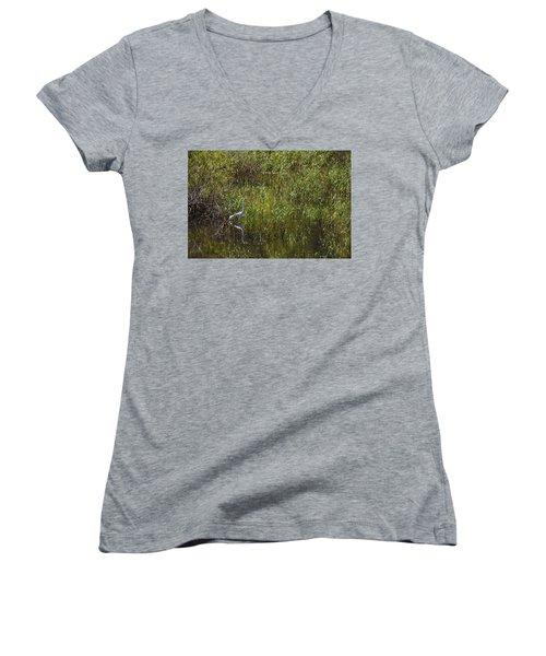 Egret Hunting In Reeds Women's V-Neck