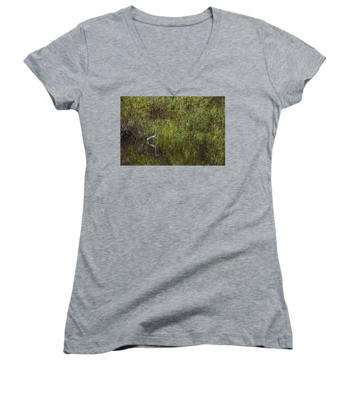 Egret Hunting In Reeds Women's V-Neck (Athletic Fit)
