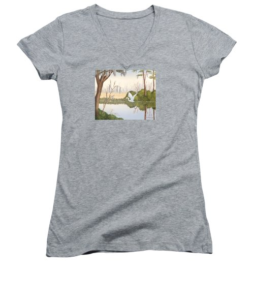 Egret In Flight 1 Women's V-Neck T-Shirt (Junior Cut) by Denise Fulmer
