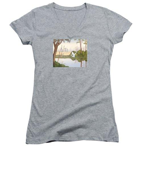Egret In Flight 1 Women's V-Neck T-Shirt