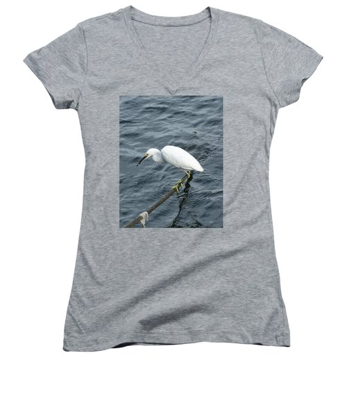 Women's V-Neck T-Shirt (Junior Cut) featuring the photograph Egret On The Munch by Margie Avellino