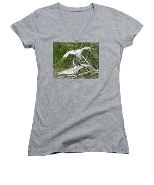 Egret Rumble Women's V-Neck T-Shirt (Junior Cut) by George Randy Bass