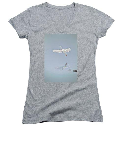 Egret Takes Flight Women's V-Neck (Athletic Fit)