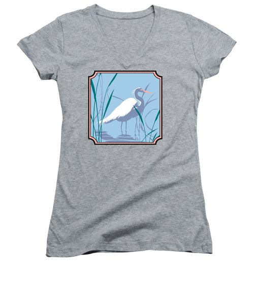 Egret Tropical Abstract - Square Format Women's V-Neck T-Shirt (Junior Cut) by Walt Curlee