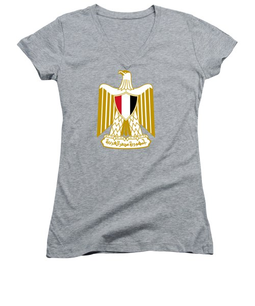 Women's V-Neck T-Shirt (Junior Cut) featuring the drawing Egypt Coat Of Arms by Movie Poster Prints