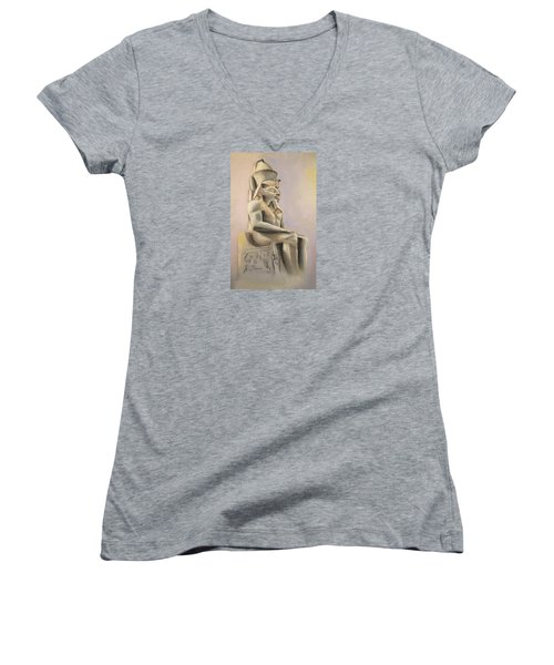 Women's V-Neck T-Shirt (Junior Cut) featuring the pastel Egyptian Study II by Elizabeth Lock