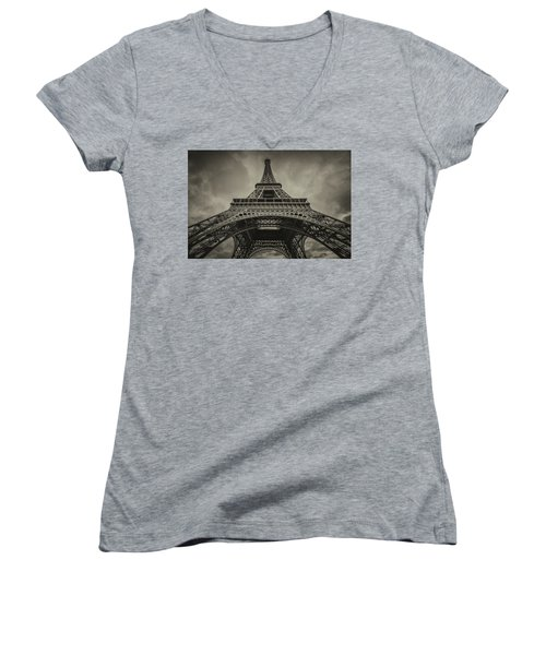Eiffel Tower 1 Women's V-Neck (Athletic Fit)