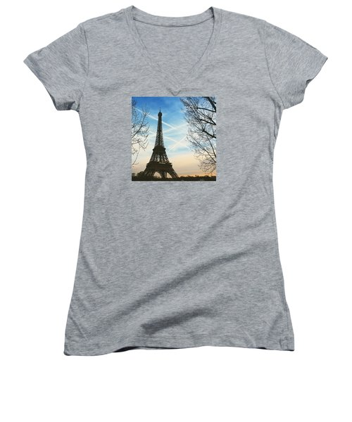 Eiffel Tower And Contrails Women's V-Neck T-Shirt (Junior Cut) by Aurella FollowMyFrench