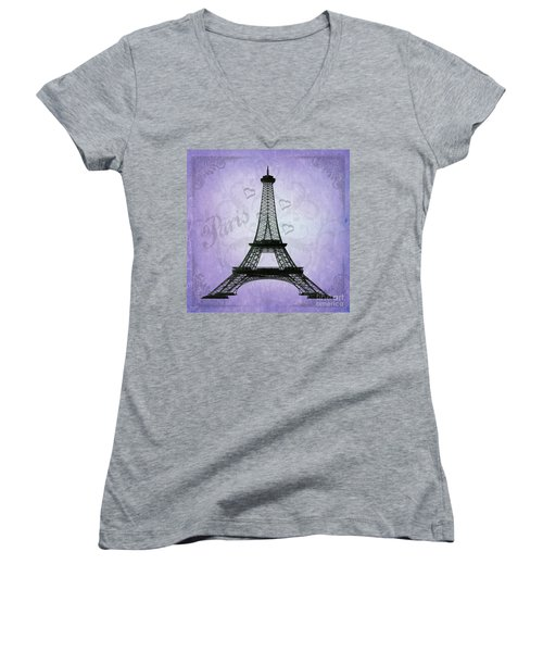 Eiffel Tower Collage Purple Women's V-Neck (Athletic Fit)