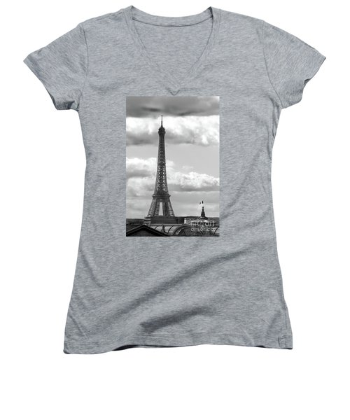 Eiffel Tower From Galeries Lafayette Rooftop Women's V-Neck (Athletic Fit)