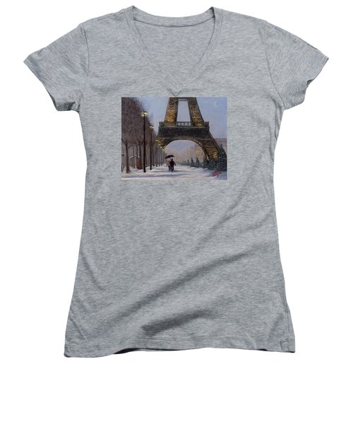Eiffel Tower In The Snow Women's V-Neck